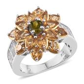 Vesuvianite, Brazilian Citrine, White Topaz 14K YG and Platinum Over Sterling Silver Flower Ring (Size 5.0) TGW 6.380 cts.