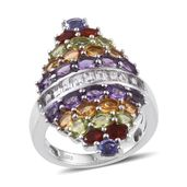 Rainbow Gems Multi Gemstone Platinum Over Sterling Silver Elongated Ring (Size 7.0) TGW 6.180 cts.