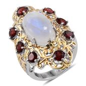 Royal Jaipur Sri Lankan Rainbow Moonstone, Mozambique Garnet, Ruby 14K YG and Platinum Over Sterling Silver Ring (Size 8.0) TGW 14.550 cts.