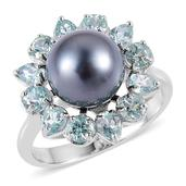 Pearl Expressions Tahitian Pearl, Madagascar Paraiba Apatite Sterling Silver Ring (Size 9.0) 0 TGW 2.100 cts.