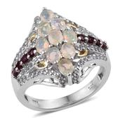 Ethiopian Welo Opal, Anthill Garnet, White Topaz 14K YG and Platinum Over Sterling Silver Ring (Size 6.0) TGW 2.190 cts.