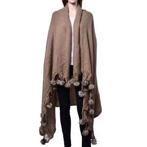 Brown 100% Acrylic Throw-Shawl With Pom Pom Trim (64x52 in)