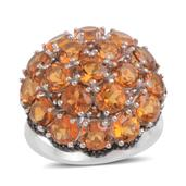 Santa Ana Madeira Citrine, Thai Black Spinel Sterling Silver Ring (Size 10.5) TGW 9.900 cts.