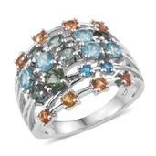 Natural Green Apatite, Multi Gemstone Platinum Over Sterling Silver Ring (Size 9.0) TGW 2.640 cts.