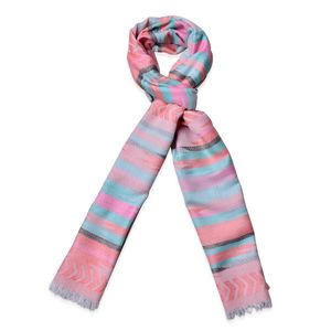 Peach and Multi Color 100% Polyester Santa Fe Pattern Scarf (74x28 in)