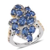 Himalayan Kyanite, White Topaz 14K YG and Platinum Over Sterling Silver Elongated Ring (Size 8.0) TGW 7.37 cts.