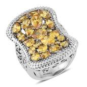 Mega Clearance Simulated Yellow Diamond Stainless Steel Openwork Ring (Size 5.0) TGW 11.090 cts.