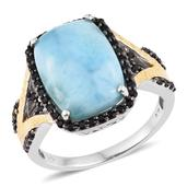 Larimar, Thai Black Spinel 14K YG and Platinum Over Sterling Silver Split Statement Ring (Size 14.0) TGW 17.30 cts.