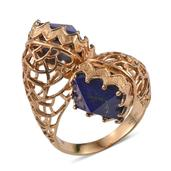 Lapis Lazuli 14K YG Over Sterling Silver Ring (Size 6.0) TGW 16.70 cts.