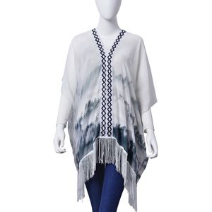 J Francis - White and Gray Chiffon Poncho with Fringe (33x27 in)