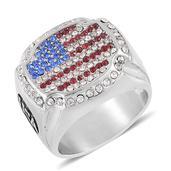 Red, Blue and White Austrian Crystal Stainless Steel Men's Ring (Size 11.0)
