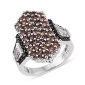Jenipapo Andalusite, White Topaz, Thai Black Spinel Platinum Over Sterling Silver Elongated Ring (Size 6.0) TGW 4.09 cts.