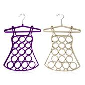 Purple and White Velvet Silvertone Set of 2 Dress Scarf Hanger (17 in)