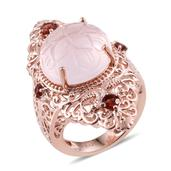 Royal Jaipur Galilea Rose Quartz, Mozambique Garnet, Ruby 14K RG Over Sterling Silver Ring (Size 6.0) TGW 15.000 cts.
