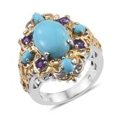 Arizona Sleeping Beauty Turquoise, Amethyst 14K YG and Platinum Over Sterling Silver Ring (Size 6.0) TGW 6.52 cts.