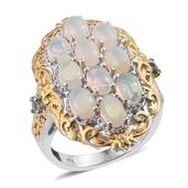 Ethiopian Welo Opal, Green Tourmaline 14K YG and Platinum Over Sterling Silver Ring (Size 6.0) TGW 3.050 cts.