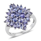 Tanzanite Platinum Over Sterling Silver Cluster Ring (Size 8.0) TGW 3.090 cts.