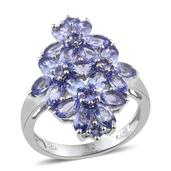 Tanzanite Platinum Over Sterling Silver Floral Cluster Ring (Size 9.0) TGW 5.56 cts.