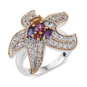GP Multi Gemstone 14K YG and Platinum Over Sterling Silver Ring (Size 6.0) TGW 3.010 cts.