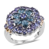 Teal Kyanite, Tanzanite 14K YG and Platinum Over Sterling Silver Ring (Size 5.0) TGW 5.50 cts.