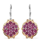 Niassa Ruby 14K YG and Platinum Over Sterling Silver Lever Back Cluster Earrings TGW 7.40 cts.