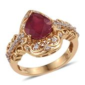 Niassa Ruby, White Zircon 14K YG Over Sterling Silver Ring (Size 7.0) TGW 4.320 cts.