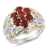 Jalisco Cherry Fire Opal, White Topaz 14K YG and Platinum Over Sterling Silver Openwork Ring (Size 7.0) TGW 1.910 cts.