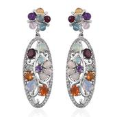 Ethiopian Welo Opal, Multi Gemstone Platinum Over Sterling Silver Earrings TGW 8.06 cts.