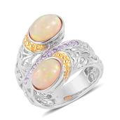 Ethiopian Welo Opal, Tanzanite 14K YG Over and Sterling Silver Bypass Ring (Size 7.0) TGW 2.92 cts.
