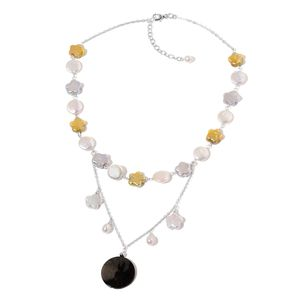 Star and Coin Pearl, Shell Sterling Silver Station Drape Necklace (18-20 in)