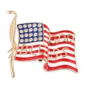Multi Color Enameled, Austrian Crystal ION Plated YG Stainless Steel American Flag Brooch