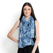 J Francis - Blue and White 100% Cotton Scarf (70x39 in)