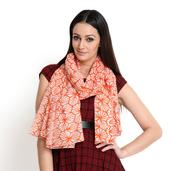 J Francis - Coral and White 100% Cotton Scarf (70x47 in)