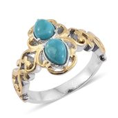 Arizona Sleeping Beauty Turquoise ION Plated YG and Stainless Steel Ring (Size 6.0) TGW 1.50 cts.