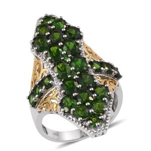 Russian Diopside, White Zircon 14K YG and Platinum Over Sterling Silver Elongated Ring (Size 10.0) TGW 8.46 cts.
