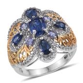 Himalayan Kyanite, Tanzanite, White Topaz 14K YG and Platinum Over Sterling Silver Ring (Size 9.0) TGW 5.10 cts.