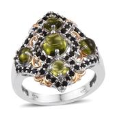 Vesuvianite, Thai Black Spinel 14K YG and Platinum Over Sterling Silver Openwork Ring (Size 5.0) TGW 4.95 cts.