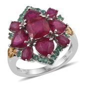 Niassa Ruby, Kagem Zambian Emerald 14K YG and Platinum Over Sterling Silver Ring (Size 7.0) TGW 9.06 cts.