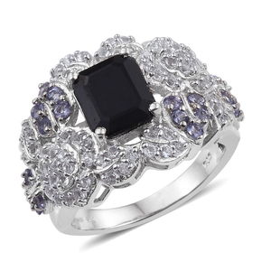 Kanchanaburi Blue Sapphire, Tanzanite, White Topaz Platinum Over Sterling Silver Statement Ring (Size 8.0) TGW 6.16 cts.
