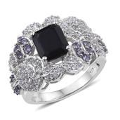 Kanchanaburi Blue Sapphire, Tanzanite, White Topaz Platinum Over Sterling Silver Statement Ring (Size 9.0) TGW 6.16 cts.