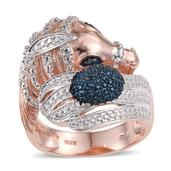 KARIS Collection - Blue Diamond (IR) Accent ION Plated 18K RG Brass Bypass Ring (Size 8.0) TDiaWt 0.01 cts, TGW 0.010 cts.