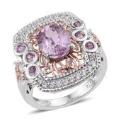 Kunzite, White Zircon, Pink Sapphire 14K RG and Platinum Over Sterling Silver Ring (Size 8.0) TGW 3.92 cts.