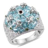 Madagascar Paraiba Apatite, Multi Gemstone Platinum Over Sterling Silver Ring (Size 6.0) TGW 7.050 cts.