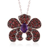 GP Mozambique Garnet, Multi Gemstone 14K RG Over Sterling Silver Pendant With Chain (20 in) TGW 5.390 cts.