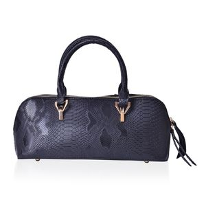 Black Snake Embossed Faux Leather Barrel Handbag (15x5x6 in)