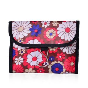 Multi Color Floral Print 100% Polyester Foldable Storage Bag (15.5x8 in)