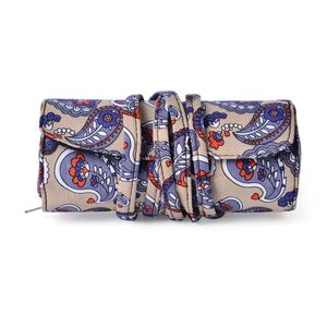 Beige Paisley Print Foldable Cosmetic Tool Storage Bag (11x5 in)