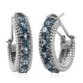 Cambodian Blue Zircon Platinum Over Sterling Silver Hoop Earrings TGW 8.75 cts.