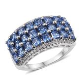 J Francis - Platinum Over Sterling Silver Ring Made with Blue and White SWAROVSKI ZIRCONIA (Size 6.0) TGW 7.800 cts.
