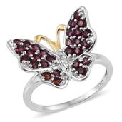 Creature Couture Anthill Garnet, Diamond Accent 14K YG and Platinum Over Sterling Silver Butterfly Ring (Size 10.0) TDiaWt 0.01 cts, TGW 1.794 cts.